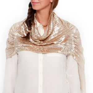 Womens Cocktail Hour Sequin Scarf, Gold, Cstm Colours - wedding fashion