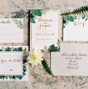 Personalised Tropical Leaves Botanical Wedding Invite - hothouse wedding trend