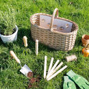 Personalised Antique Wicker Gardening Basket With Tools