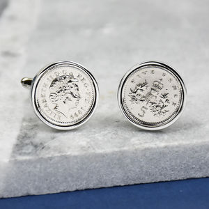 Five Pence 18th 1999 Birthday Coin Cufflinks - 18th birthday gifts