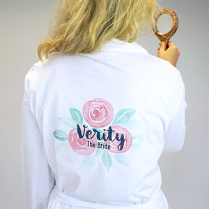 Personalised Rose Bridal Wedding Dressing Gown