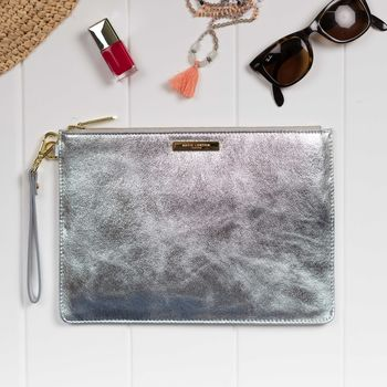 **Personalised Luxe Sparkly Silver Evening Clutch