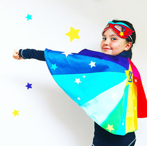 Personalised Superhero Cape Superstar Rainbow