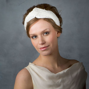 Chantilly Lace And Silk Turban Style Bridal Headpiece - bridal hairpieces