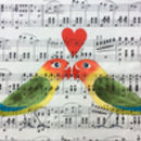 Romantic Lovebirds And Heart Original Painting