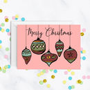 Merry Christmas Baubles Card A5