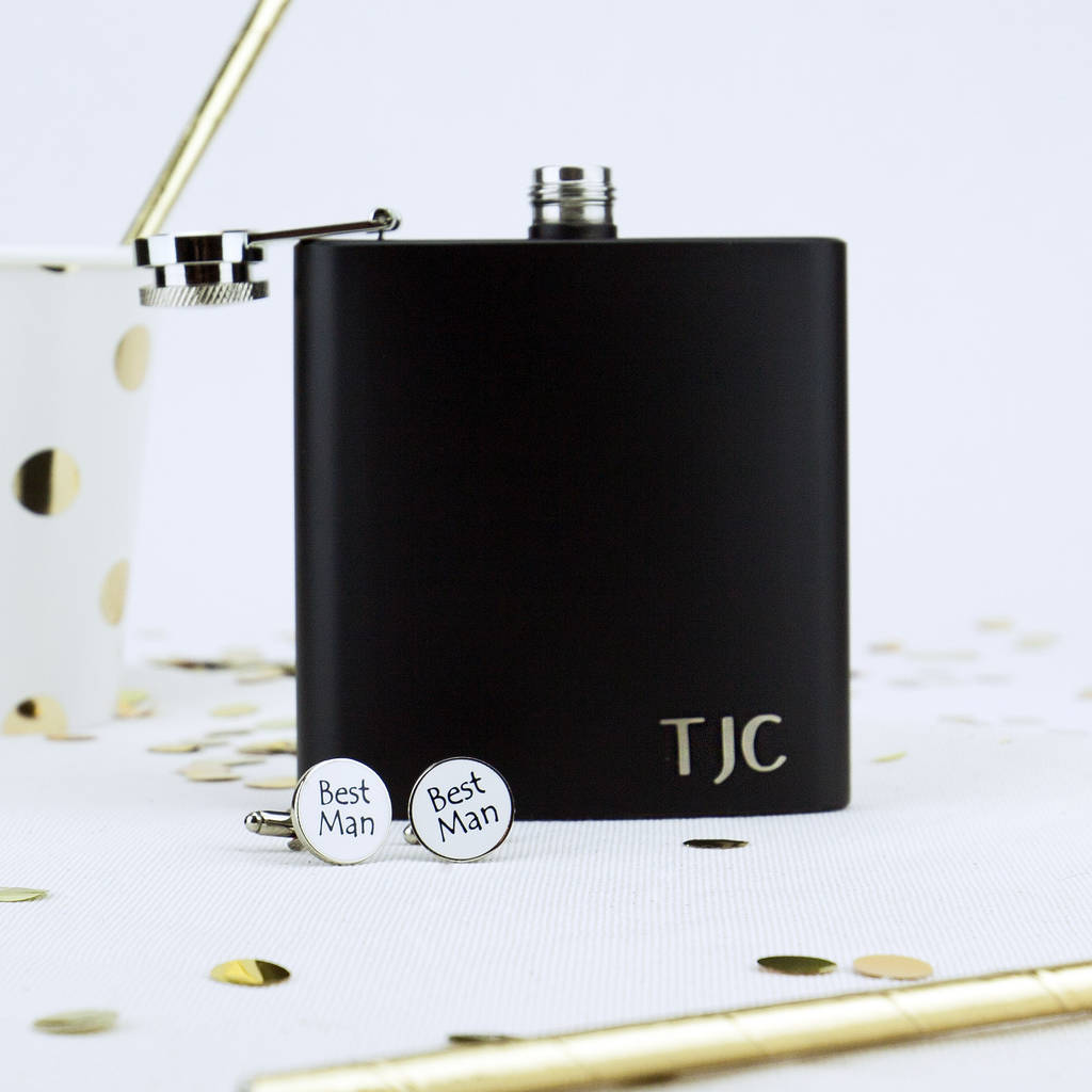 Personalised Hip Flask And Best Man Cufflink Set