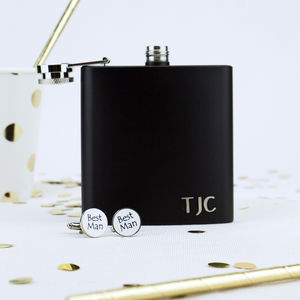 Personalised Hip Flask And Best Man Cufflink Set - camping