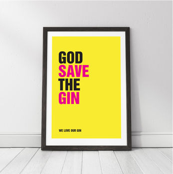 'God Save The Gin' Personalised Gin Print