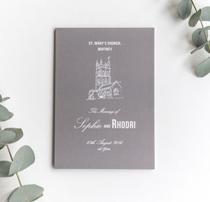 Traditional Style Order Of Service / Stone Grey - wedding stationery