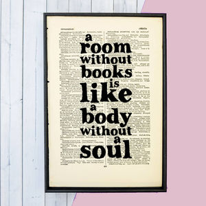 Book Lover 'A Room Without Books…' Quote Print - literature