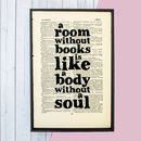 Book Love Quote Print 'A Room Without Books...' Literary Gift