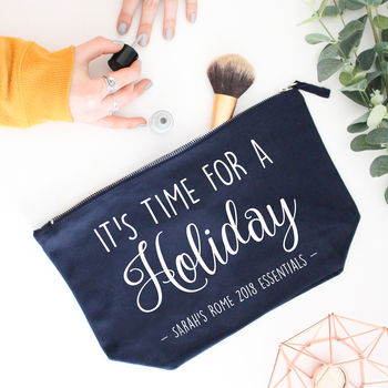 Navy Holiday bag with white print