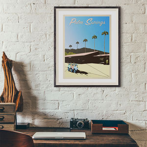 Palm Springs Vintage Style Travel Print - posters & prints