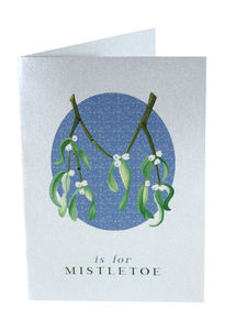 Silver Christmas Cards Mistletoe Twine Tied Pack Of Six - cards