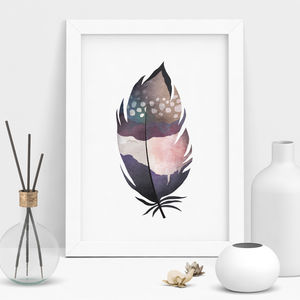 Decorative Watercolour Feather Printed - nature & landscape