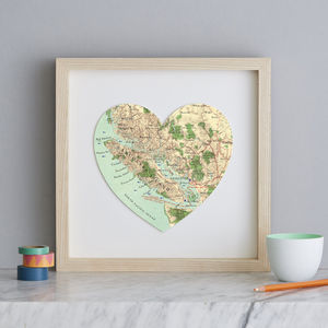 Personalised Location Vancouver Map Heart Print