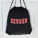 Personalised Cotton Pe Kit Pump Bag Black