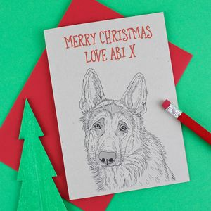 German Shepherd Personalised Christmas Card - cards