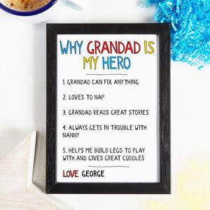 Personalised Why Grandad Grandpa Is My Hero Print - gifts for grandparents