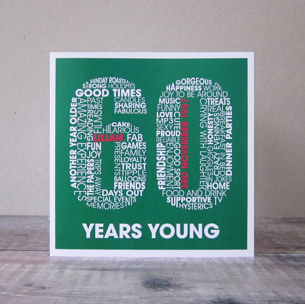 60th birthday card personalised 60th birthday card birthday cards bookmarktalkfo Choice Image
