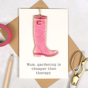 Personalised Keepsake Welly Mother's Day Card