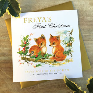 Personalised Baby's First Christmas Card | Fox Cub - cards & wrap