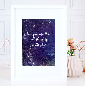 Love You More Than Stars Valentines Astrology Print