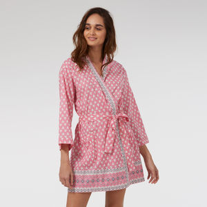Cotton Short Kimono In Pink Heart Print