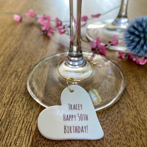Personalised 50th Birthday Glass Charm