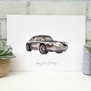 Hand Illustrated Vintage Car Print