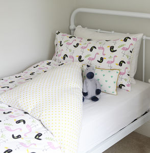 Flamingon And Toucan Single Duvet Set - summer sale