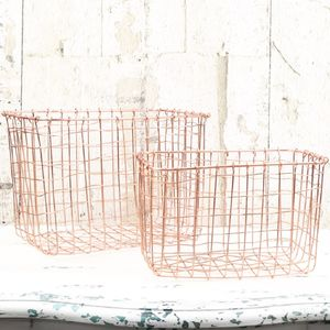 Set Of Two Wire Mesh Copper Baskets