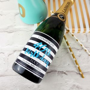 Special Year Monochrome Champagne/Prosecco Label - wedding stationery