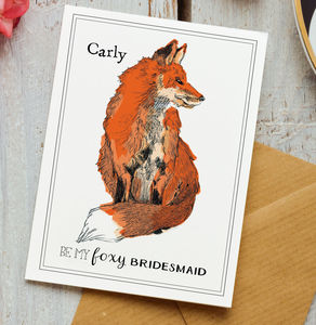 Personalised Foxy Bridesmaid Luxury Greetings Card