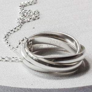 Sterling Silver Engraved Linked Ring Necklace - rings