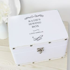 Personalised White Sewing Box - sewing boxes