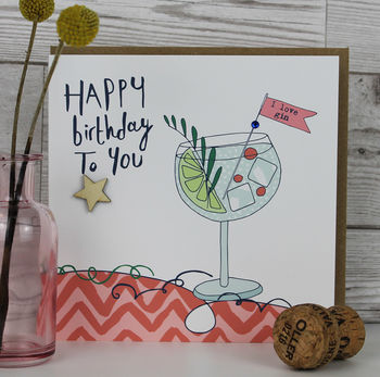 Birthday Card For Women Gin Themed