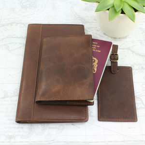 Vintage Travel Wallet, Passport Cover And Luggage Tag - gifts for him