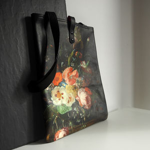 Floral Tote / Laptop Bag: Printed Leather Il Mazetto