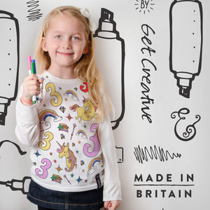 Unicorn Birthday Colour In Top With Fabric Pens - personalised