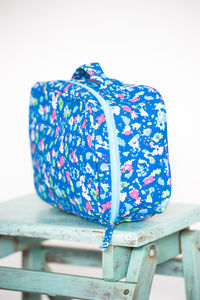 Canvas Wash Bags In Isabel Cobalt Print