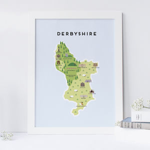 Map Of Derbyshire - prints & art sale