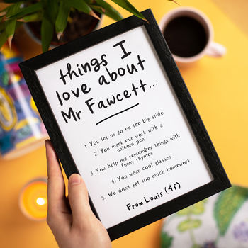 Personalised Things We Love About Our Teacher Print