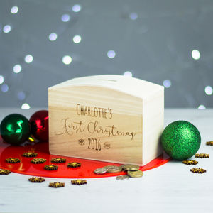 Personalised First Christmas Money Box