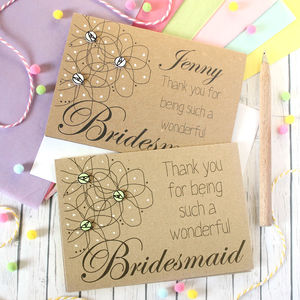 Personalised 'Thank You For Being My Bridesmaid' Card