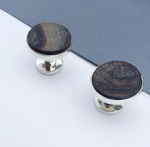 'Newspaper Wood' Sterling Silver Cufflinks