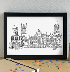 Oxford Skyline Landmarks Cityscape Art Print - architecture & buildings