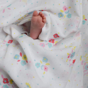 Muslin Swaddle Floral - blankets, comforters & throws