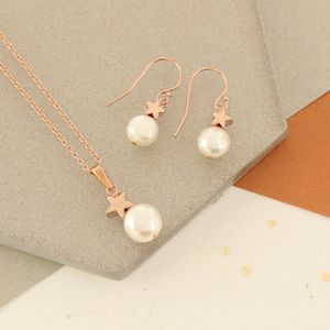 White Pearl Pendant And Earrings Set